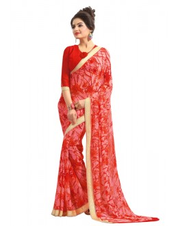 Casual Wear Red Georgette Saree  - RKAM6565