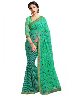 Green Colour Georgette Printed Saree  - RKAM6610
