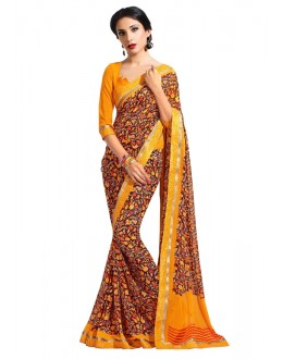 Ethnic Wear Orange Georgette Saree  - RKAM6624