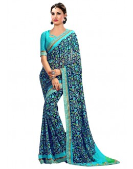 Multi-Colour Georgette Printed Saree  - RKAM6625