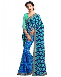 Georgette Multi-Colour Printed Saree  - RKAM6626