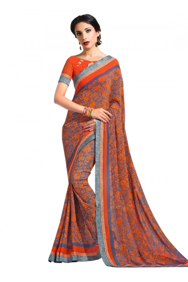 Party Wear Orange Georgette Saree  - RKAM6635