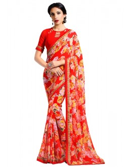 Casual Wear Multi-Colour Georgette Saree  - RKAM6636