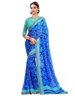 Blue Colour Georgette Printed Saree  - RKAM6639