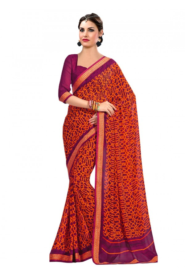 Casual Wear Multi-Colour Georgette Saree  - RKAM6641