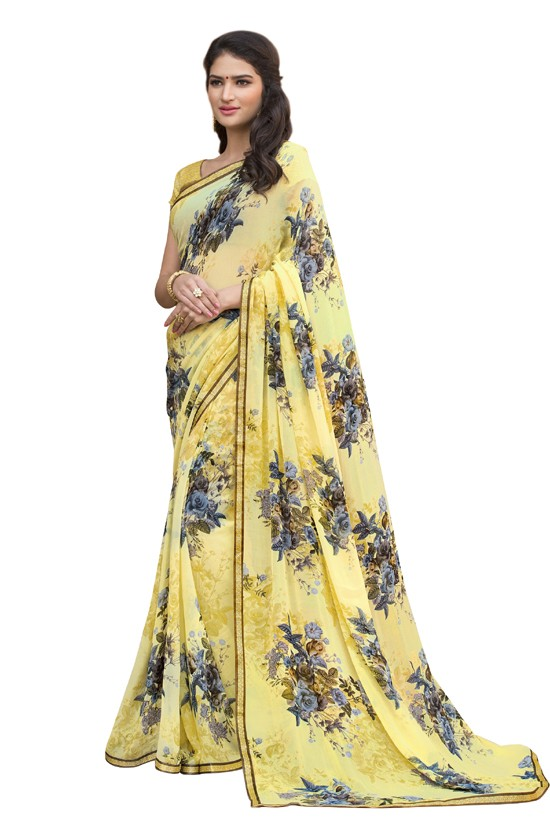 Georgette Yellow Printed Saree  - RKLP4532