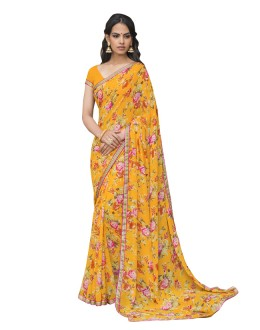 Casual Wear Yellow Georgette Saree  - RKLP4534