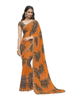 Party Wear Orange Georgette Saree  - RKLP4536