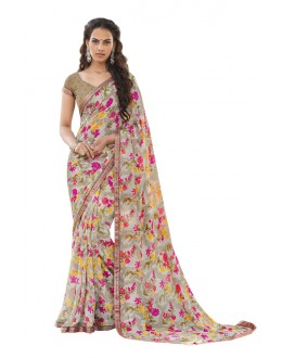 Casual Wear Beige Georgette Saree  - RKLP4538
