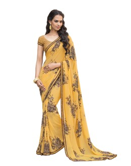 Georgette Yellow Printed Saree  - RKLP4539