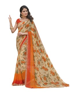 Cream Georgette Printed Saree  - RKLP4541