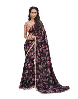 Casual Wear Black Georgette Saree  - RKLP4542