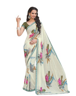 Ethnic Wear Off White Georgette Saree  - RKLP4543