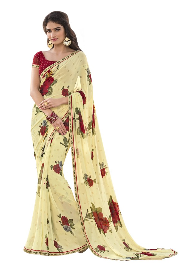 Party Wear Yellow Georgette Saree  - RKLP4544