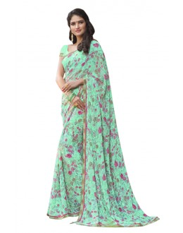 Ethnic Wear Green Blue Georgette Saree  - RKLP4545