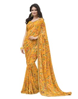 Casual Wear Yellow Georgette Saree  - RKLP4547