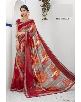 Ethnic Wear Red Georgette Saree  - RKLP4631