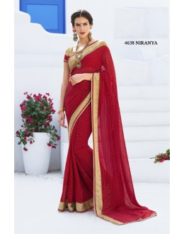 Traditional Red Georgette Saree  - RKLP4638