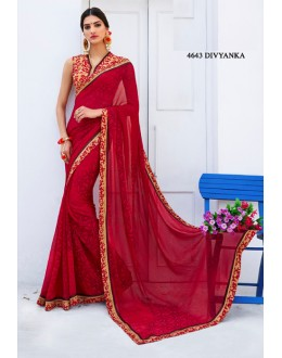 Ethnic Wear Red Georgette Saree  - RKLP4643