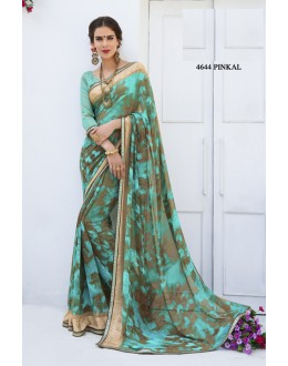Georgette Green Colour Printed Saree  - RKLP4644