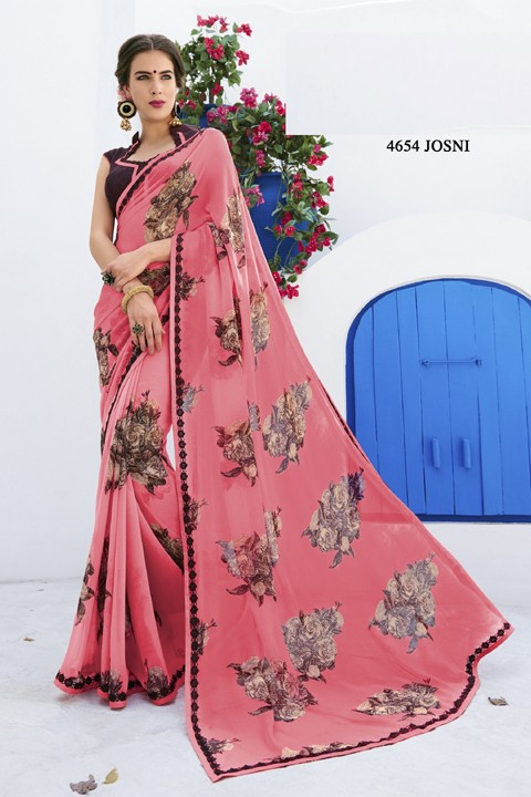 Ethnic Wear Pink Georgette Saree  - RKLP4654