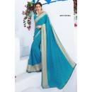 Traditional Blue Chiffon Saree  - RKLP4655