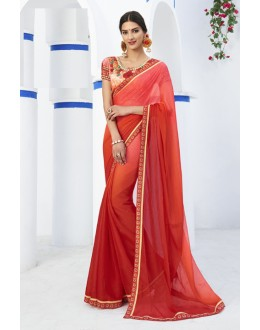 Party Wear Red Brasso Saree  - RKLP4656