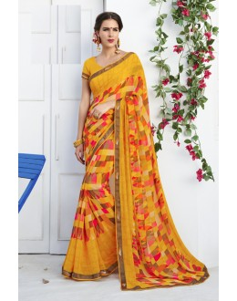 Yellow Colour Georgette Printed Saree  - RKLP4659