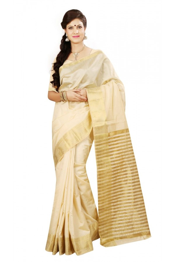 Casual Wear Beige Tussar Saree  - RKMF1443