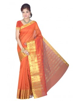 Ethnic Wear Orange Cotton Silk Saree - RKMFL139