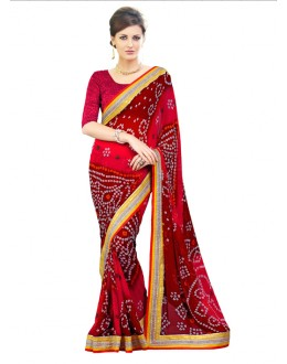Party Wear Multi-Colour Bandhani Saree  - RKSABD010