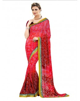 Ethnic Wear Multi-Colour Bandhani Saree  - RKSABD011
