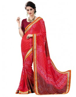 Georgette Multi-Colour Bandhani Saree  - RKSABD012