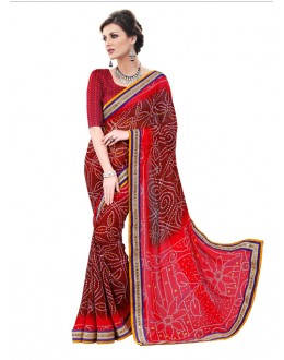Georgette Multi-Colour Bandhani Saree  - RKSABD013