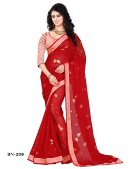 Jute Silk Red Printed Saree  - BN-208