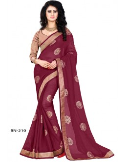 Party Wear Maroon Jute Silk Saree  - BN-210