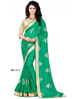 Ethnic Wear Green Jute Silk Saree  - BN-217