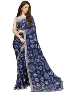 Party Wear Navy Blue & Grey Georgette Saree  - RKSALS603