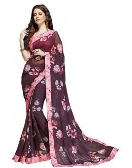 Festival Wear Wine Pink Georgette Saree  - RKSALS609