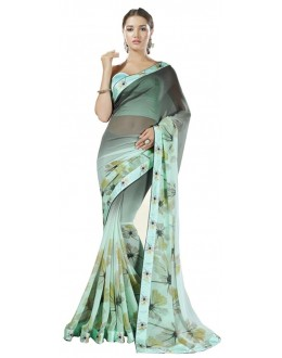 Festival Wear Green & Blue Georgette Saree  - RKSALS612