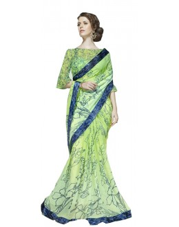 Casual Wear Green & Blue Georgette Saree  - RKSALS619