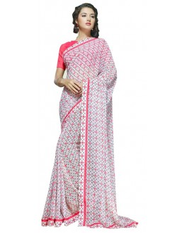 Casual Wear White & Pink Georgette Saree  - RKSALS621