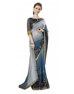 Casual Wear Grey & Blue Georgette Saree  - RKSALS622
