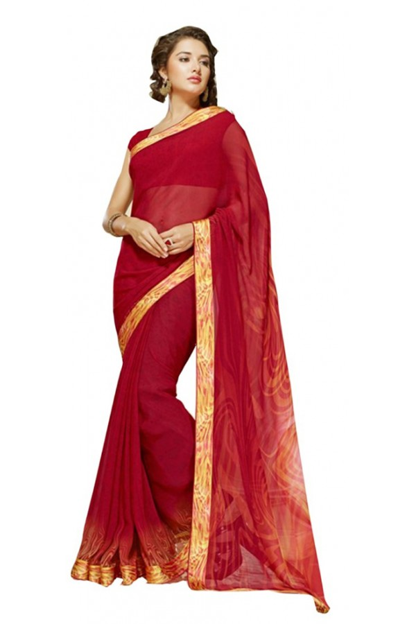 Festival Wear Red & Yellow Georgette Saree  - RKSALS628