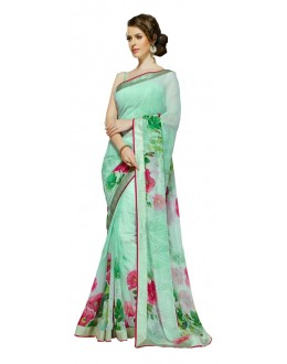 Casual Wear Green & Pink Georgette Saree  - RKSALS629