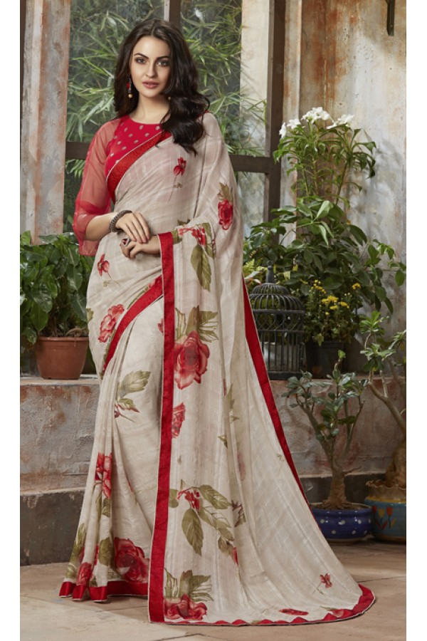 Casual Wear Cream Georgette Saree  - RKSALS804