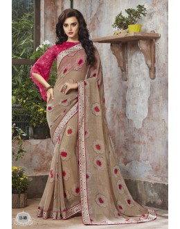 Beige Colour Georgette Printed Saree  - RKSALS808