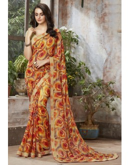 Casual Wear Yellow Georgette Saree  - RKSALS810