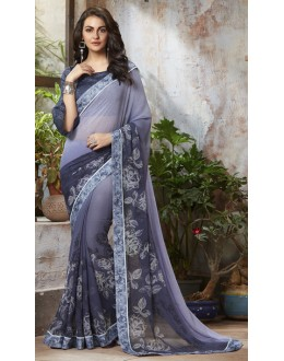 Georgette Grey Printed Saree  - RKSALS814