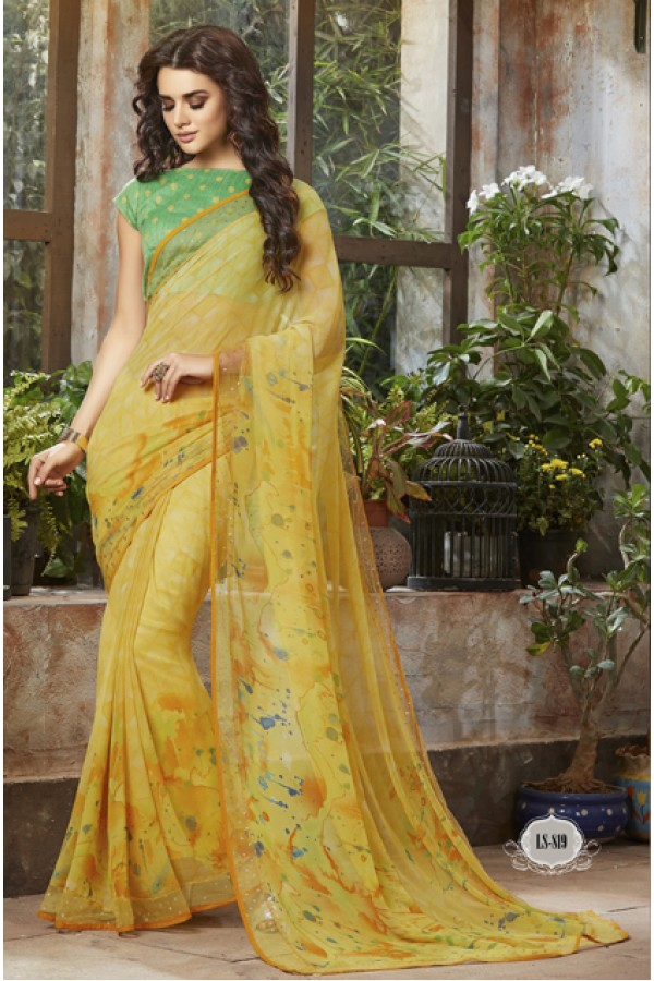 Casual Wear Yellow Georgette Saree  - RKSALS819
